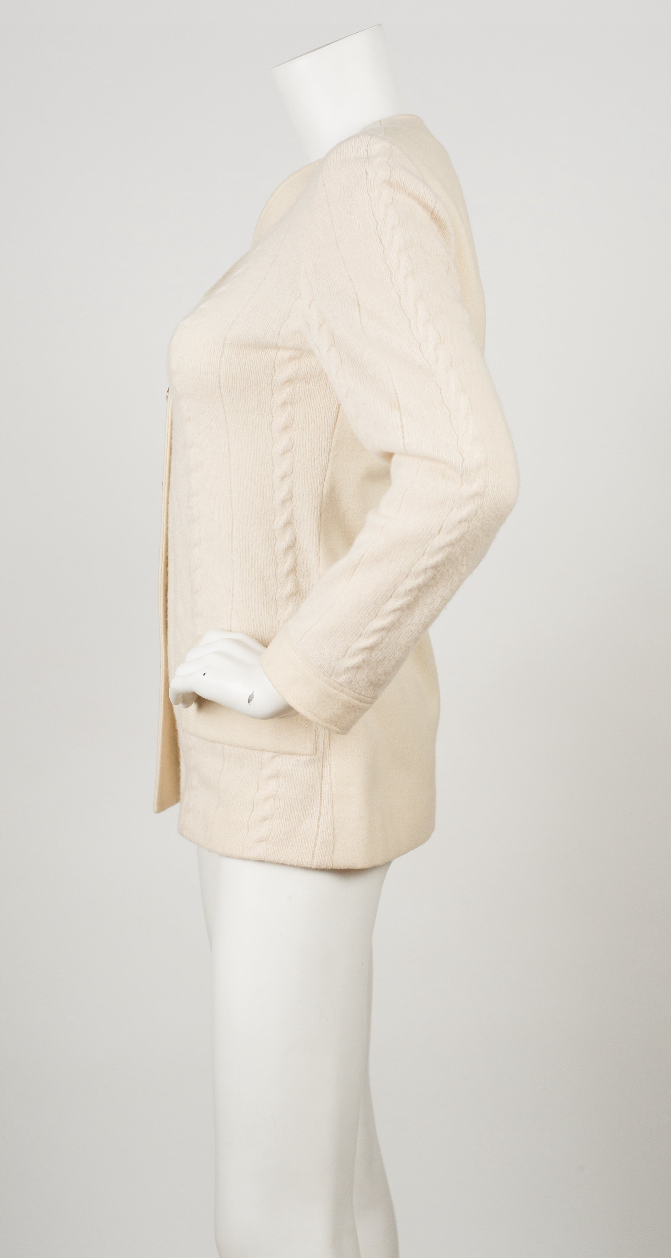 1960s Cable Knit Cream Wool Cardigan