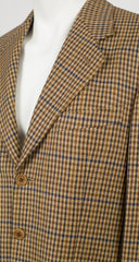 1980s Men's Beige Houndstooth Wool & Cashmere Sport Coat