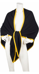 1980s Black & Yellow Cashmere Shawl