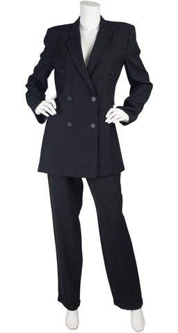 1990s Black Wool Double-Breasted Pant Suit