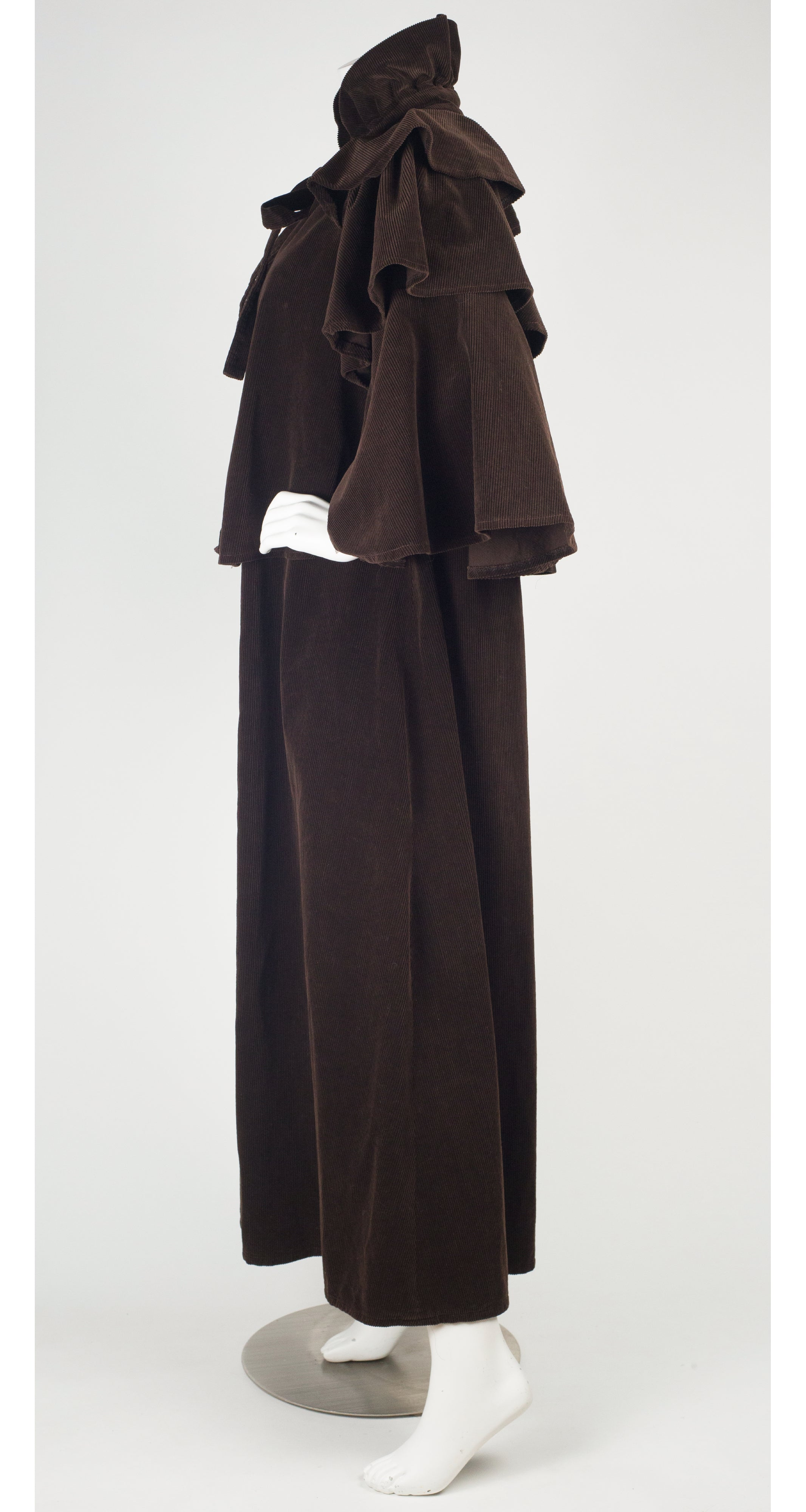 1970s British Brown Cotton Corduroy Ruffle Cloak