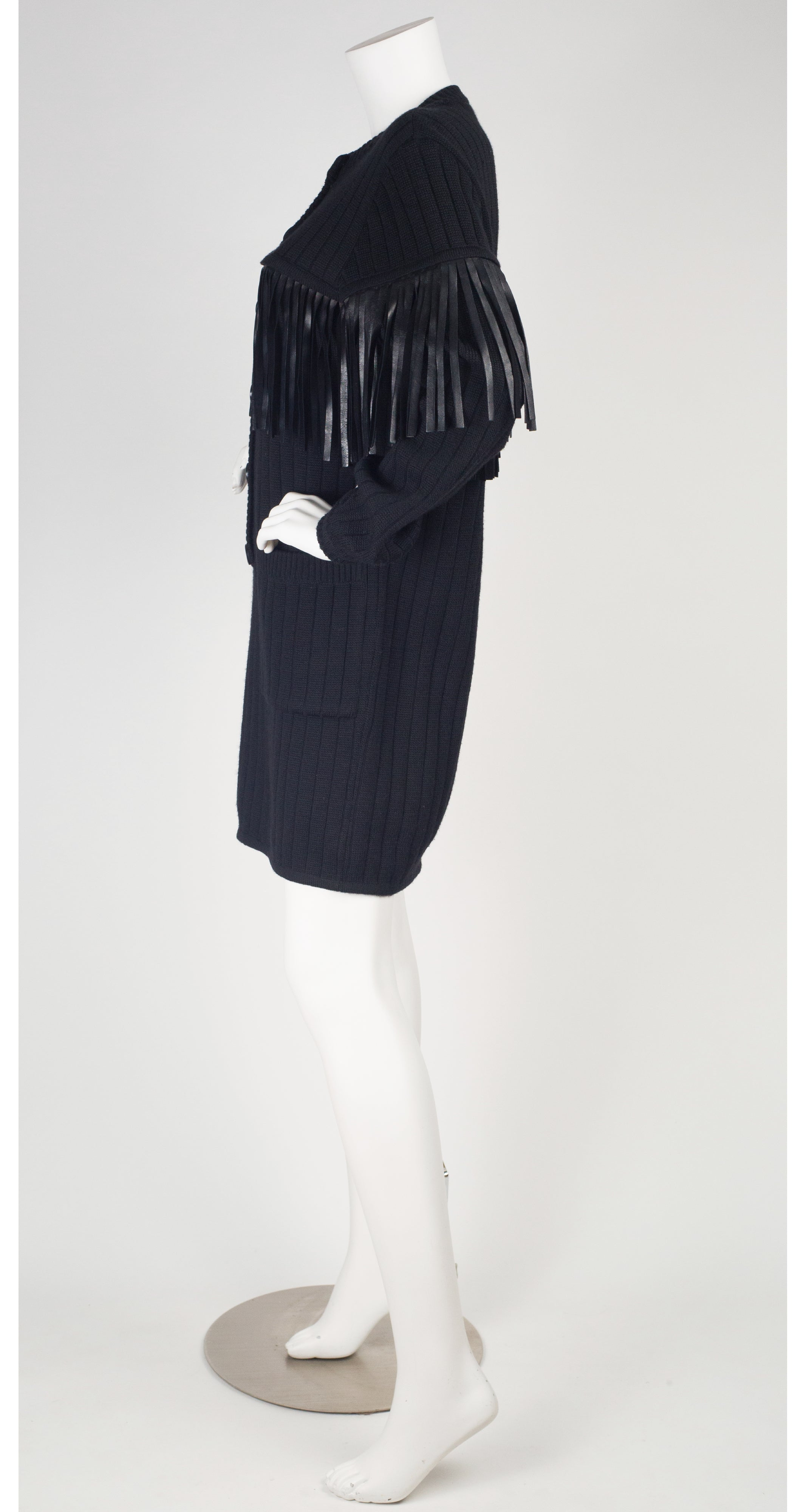 1989-90 F/W Runway Black Leather Fringe Sweater Dress
