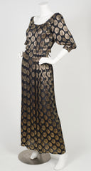 1970s Gold Lurex & Black Chiffon Pleated Gown