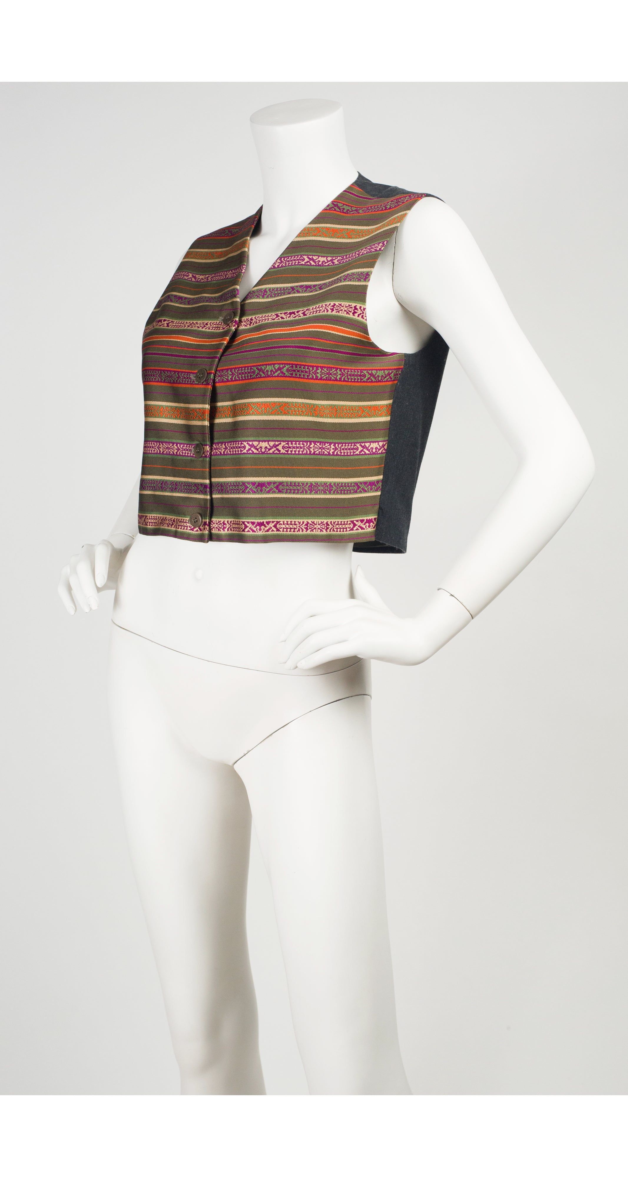 c. 1990 Striped Silk Jacquard Cropped Vest