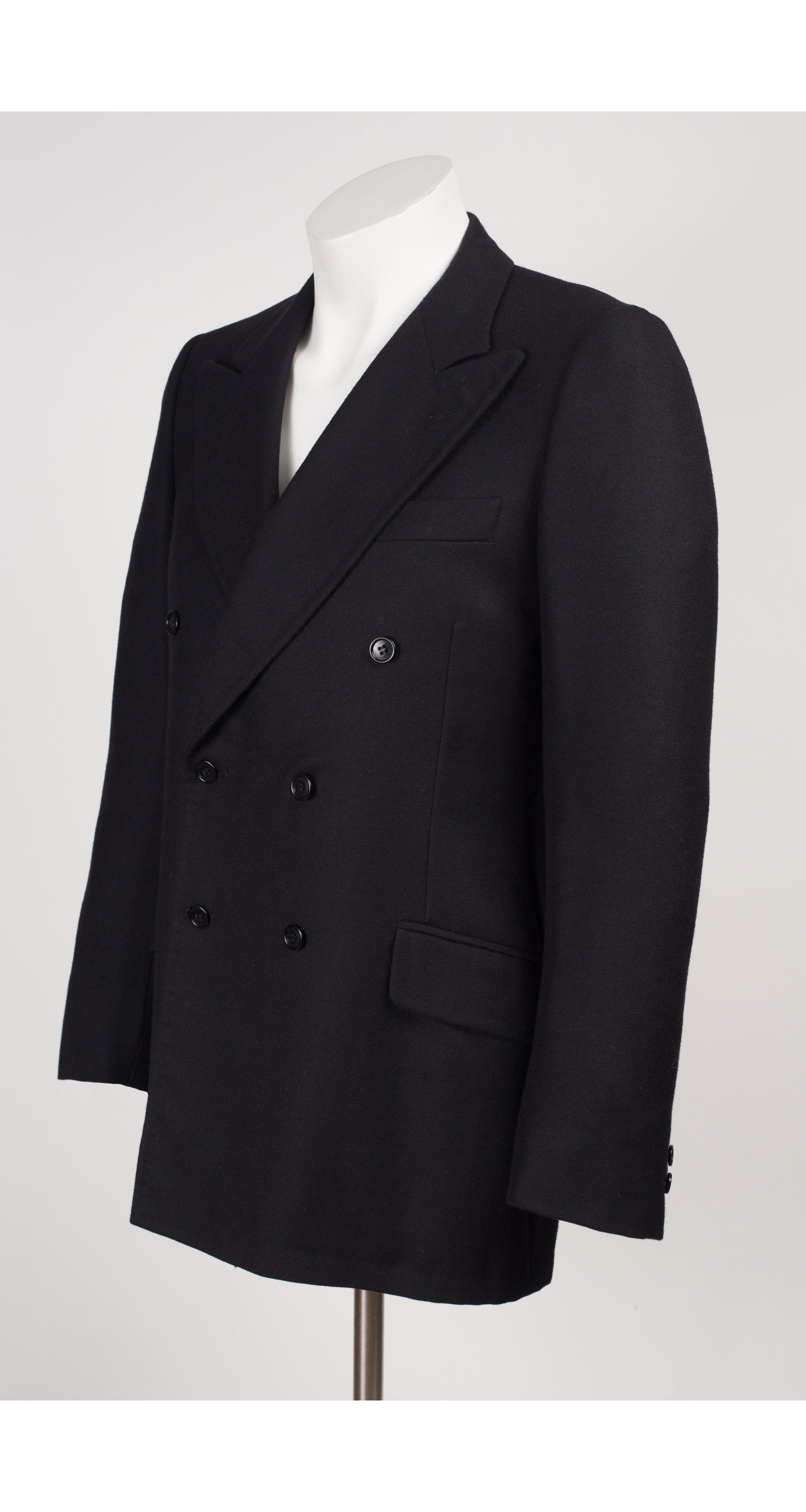 1970s Men's Black Wool Double-Breasted Suit Jacket