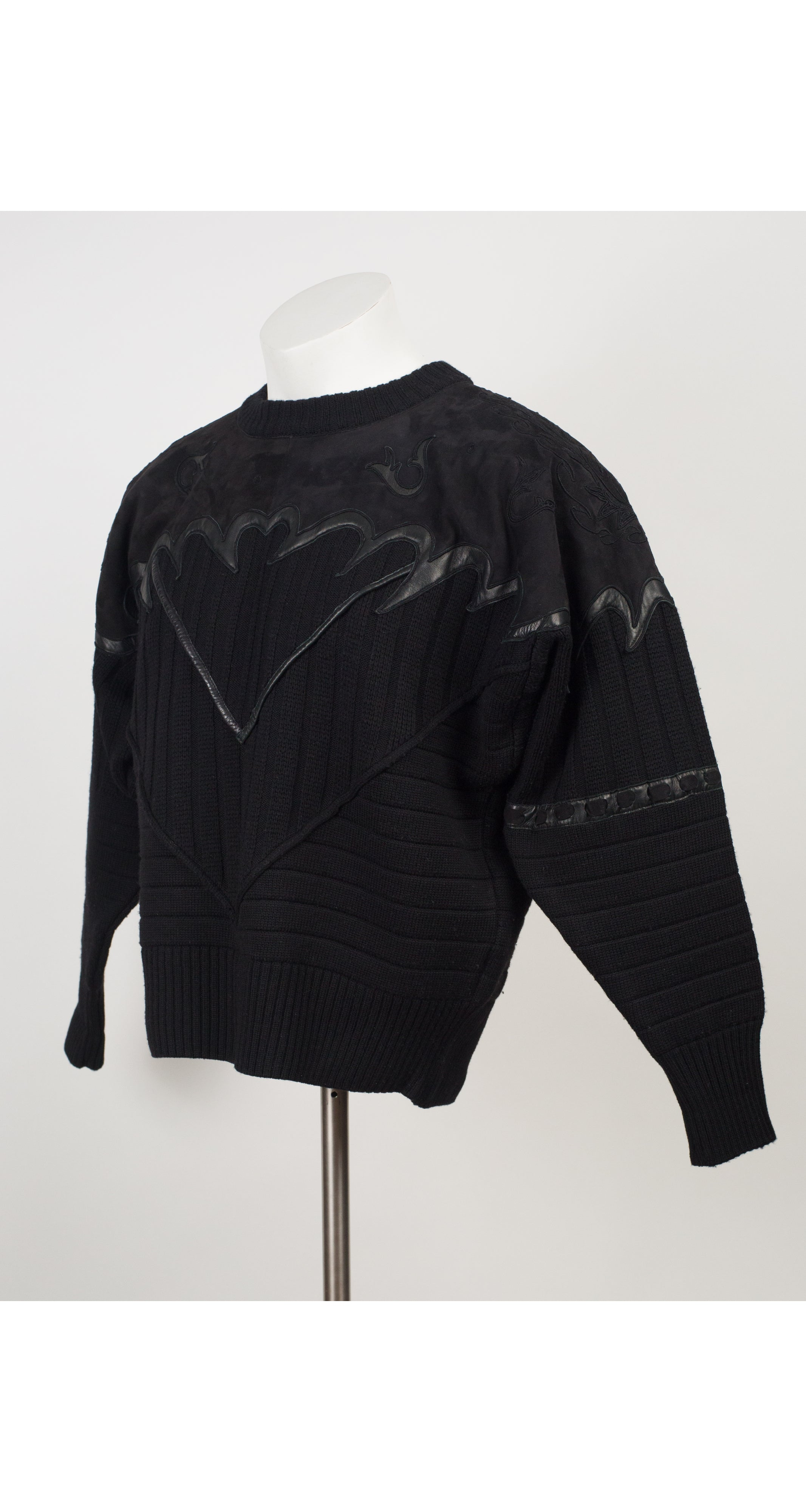 1984 F/W Ad Campaign Men's Suede & Wool Knit Sweater