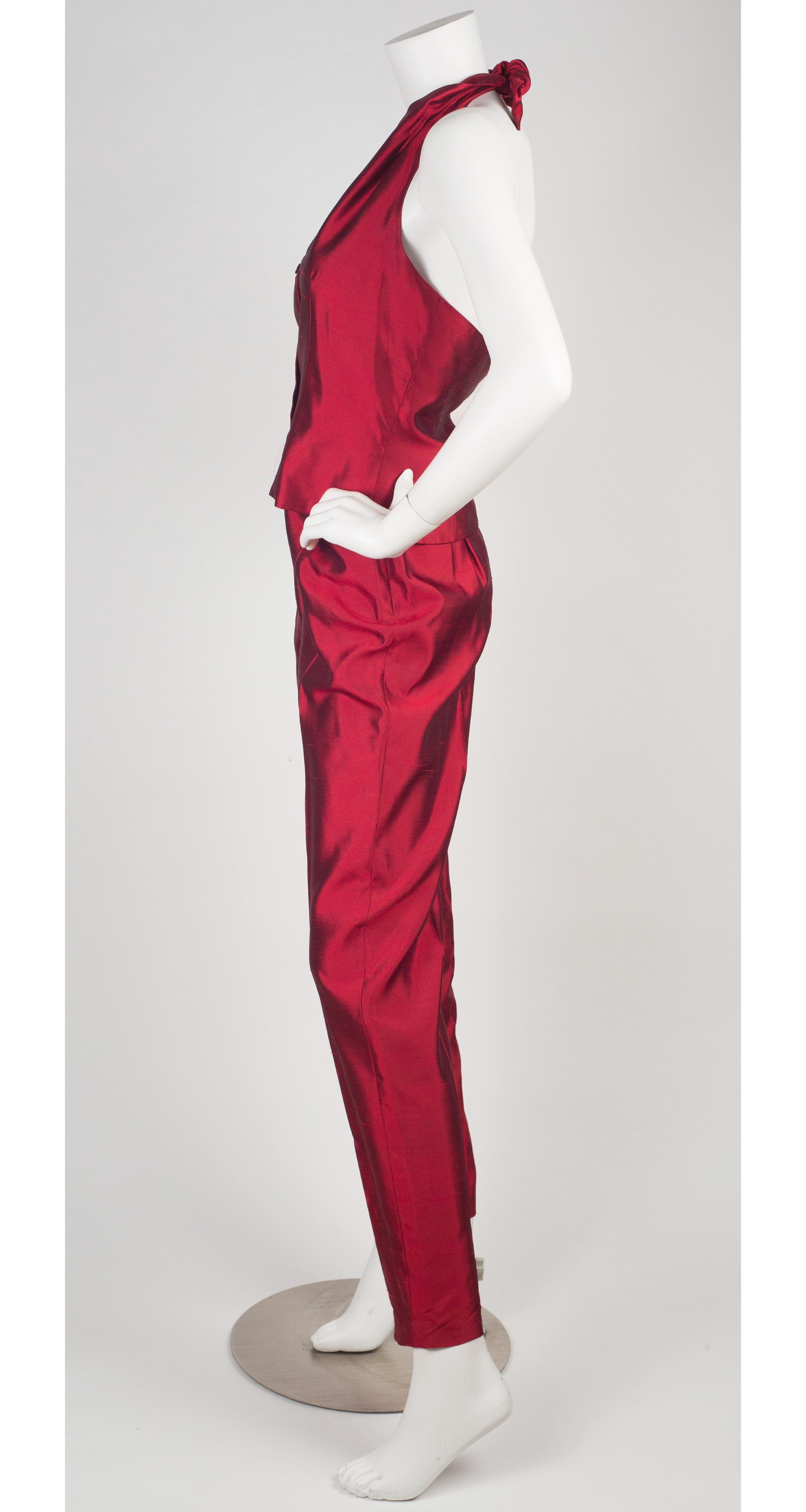 1990s Red Raw Silk Halter Pant Suit