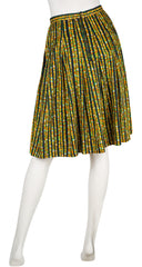 1970s Floral Cotton Pleated Skirt