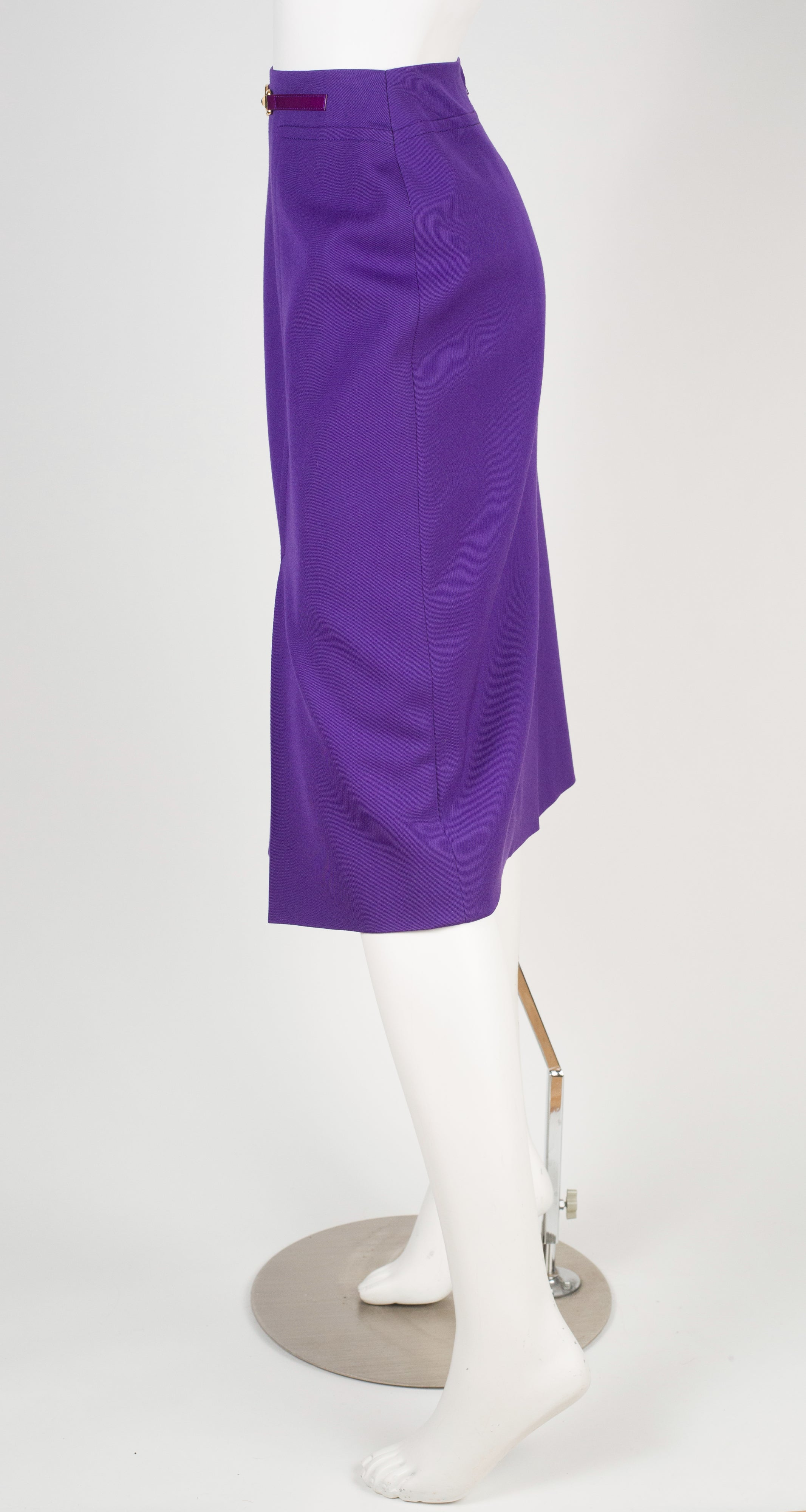 1980s Purple Wool & Leather Skirt
