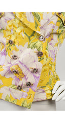2000s Peony Floral Yellow Silk Short-Sleeve Jacket