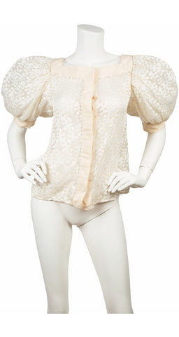 1970s Embroidered White Organza Puff Sleeve Blouse