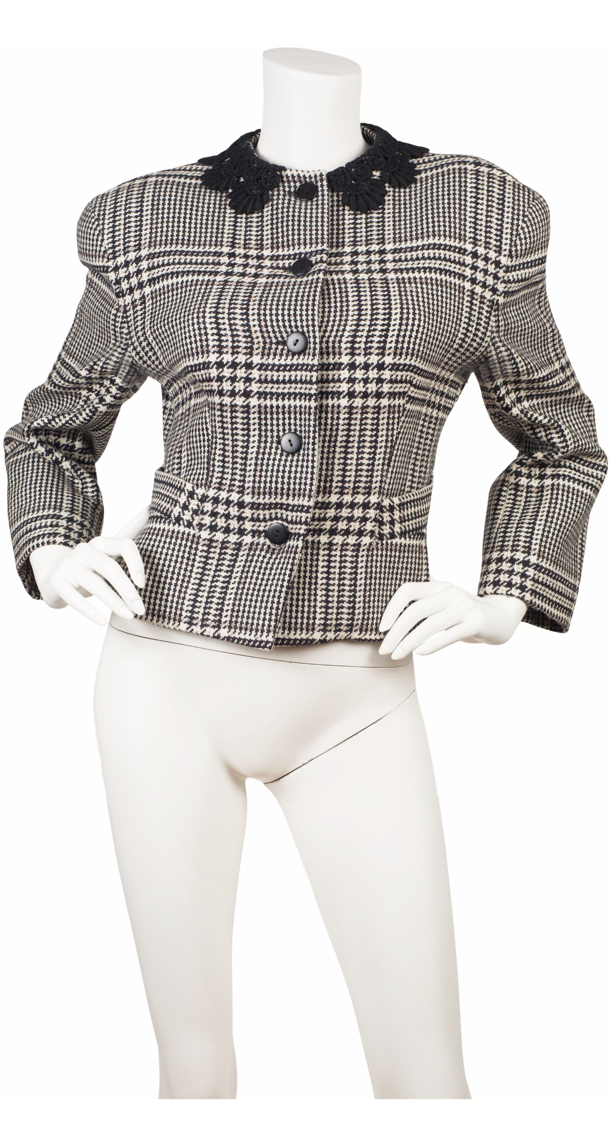 1980s Lace Collar Houndstooth Wool Jacket