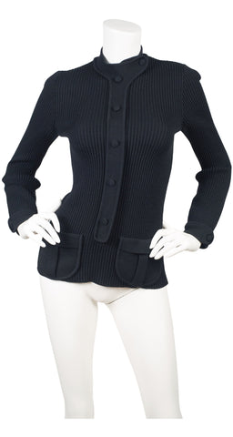 1970 Documented Space Age Black Ribbed Wool Sweater