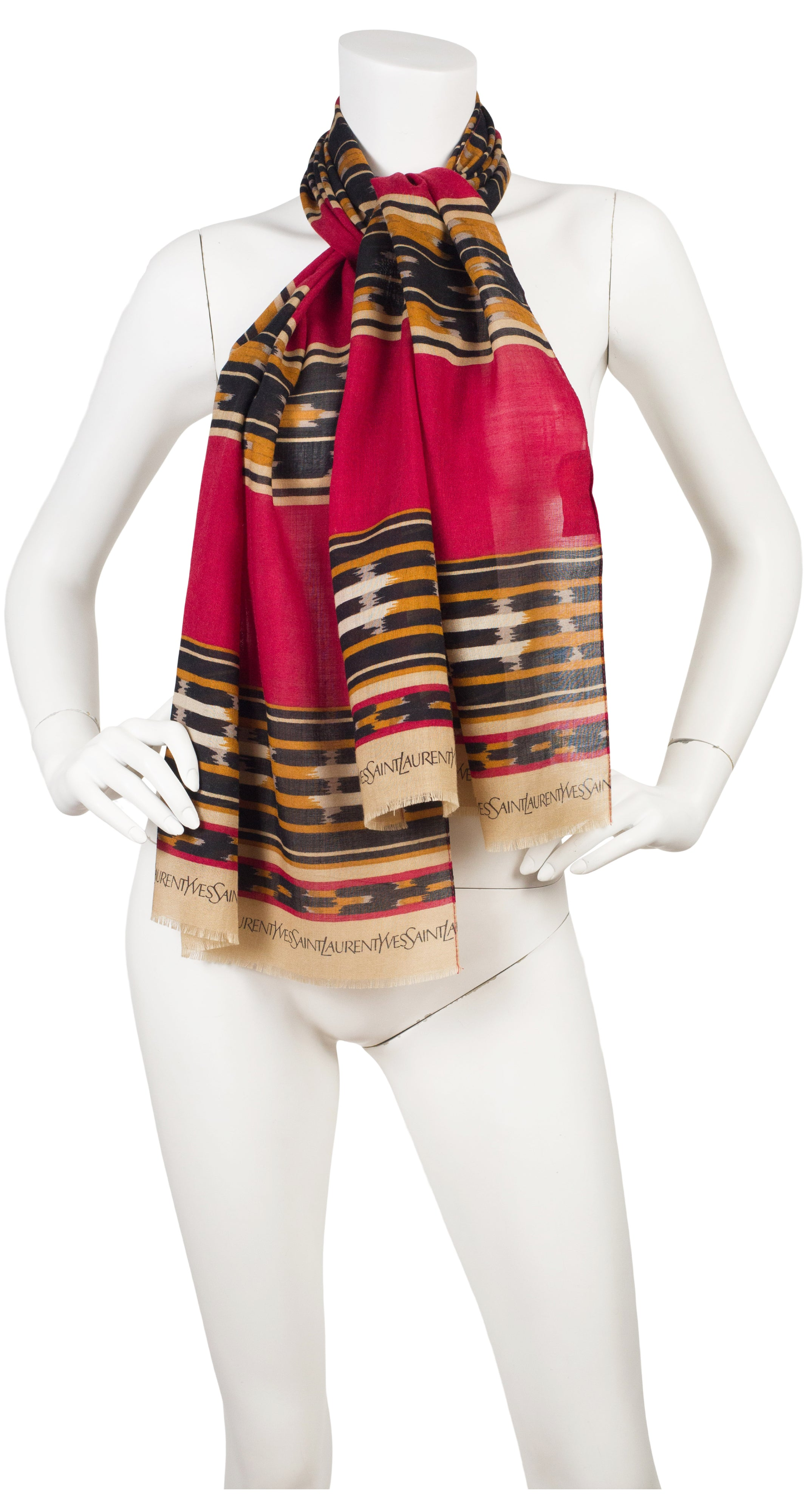 1980s Red Ikat Print Long Wool Scarf