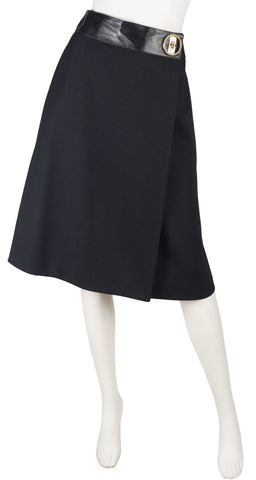 1971 Documented Mod Black Wool & Leather Skirt