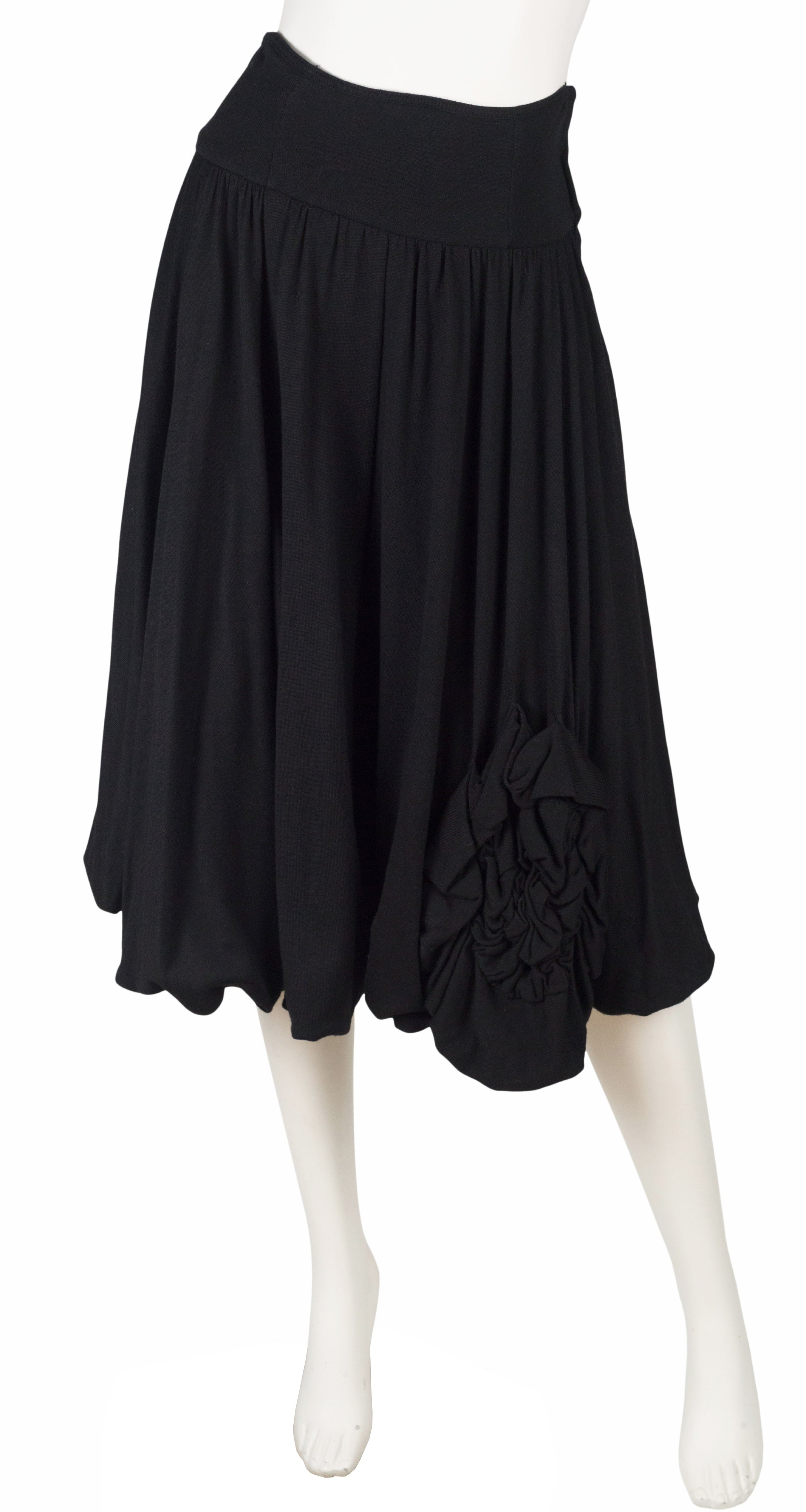 1980s Black Wool Jersey High-Waisted Skirt