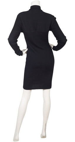 1980s Cut-Out Black Ribbed Wool Bodycon Dress