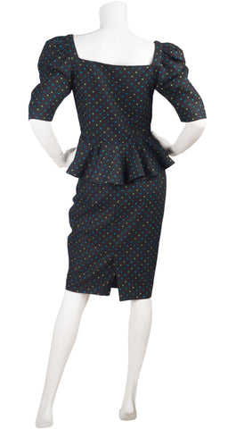 1980s Black Polka-Dot Peplum Linen Skirt Suit