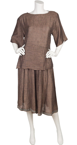 1980s Brown Linen Three-Piece Culottes Outfit