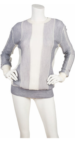 1970s Gray & White Striped Mohair Pullover Sweater