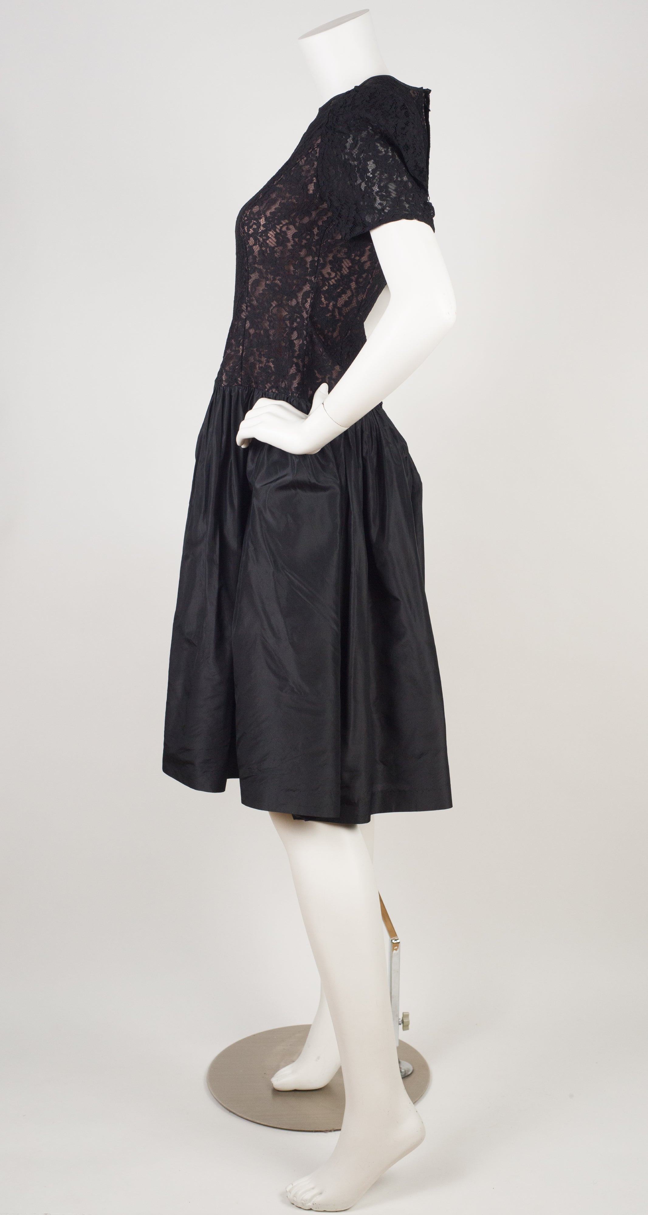 1980s Black Lace & Silk Taffeta Party Dress
