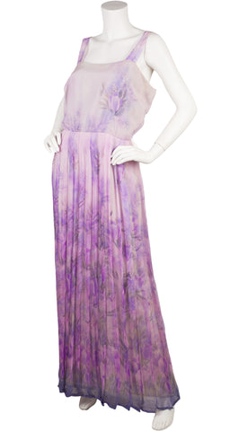 1970s Couture Purple Floral Silk Chiffon Pleated Gown Set