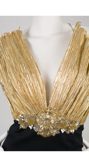 1980s Beaded Gold Lamé Fan Bust Cocktail Dress