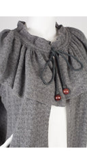 1976-77 F/W Russian Collection Gray Mohair Ruffle Cardigan
