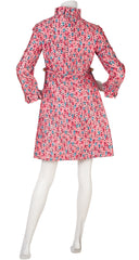 1960s Tulip Print Pink Raw Silk Coat