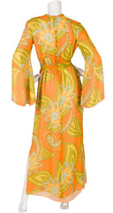 1970s Paisley Orange Silk Chiffon Maxi Dress
