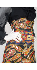 1970s Black Chiffon & Quilted Paisley Gown