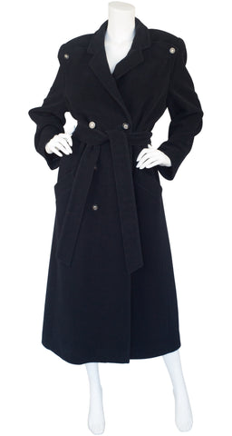 1980s Black Cashmere Double-Breasted Coat