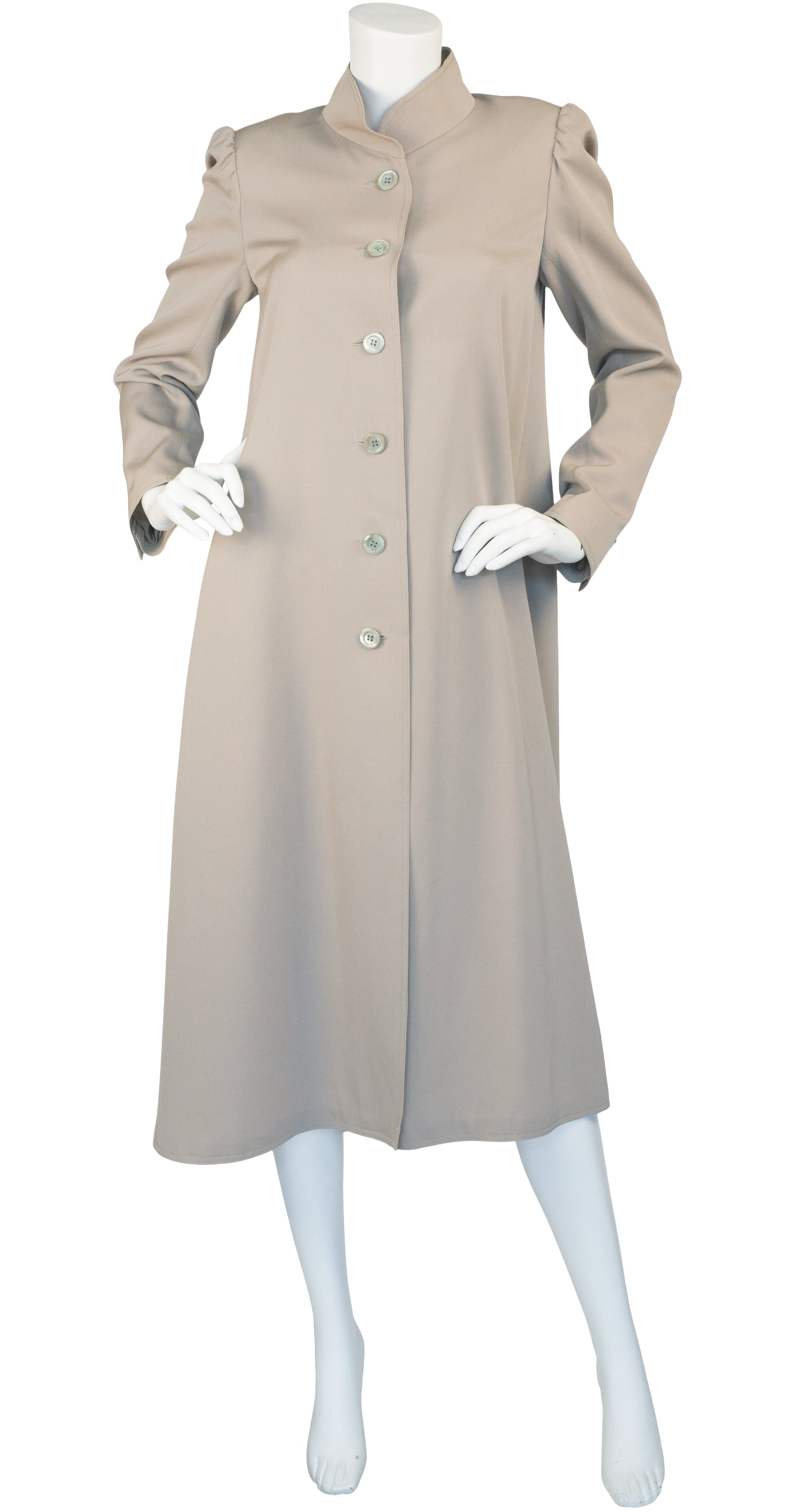 1978 Documented Taupe Wool Puff Shoulder Coat