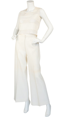 1960s Crochet Cut-Out Cream Wool Three-Piece Outfit
