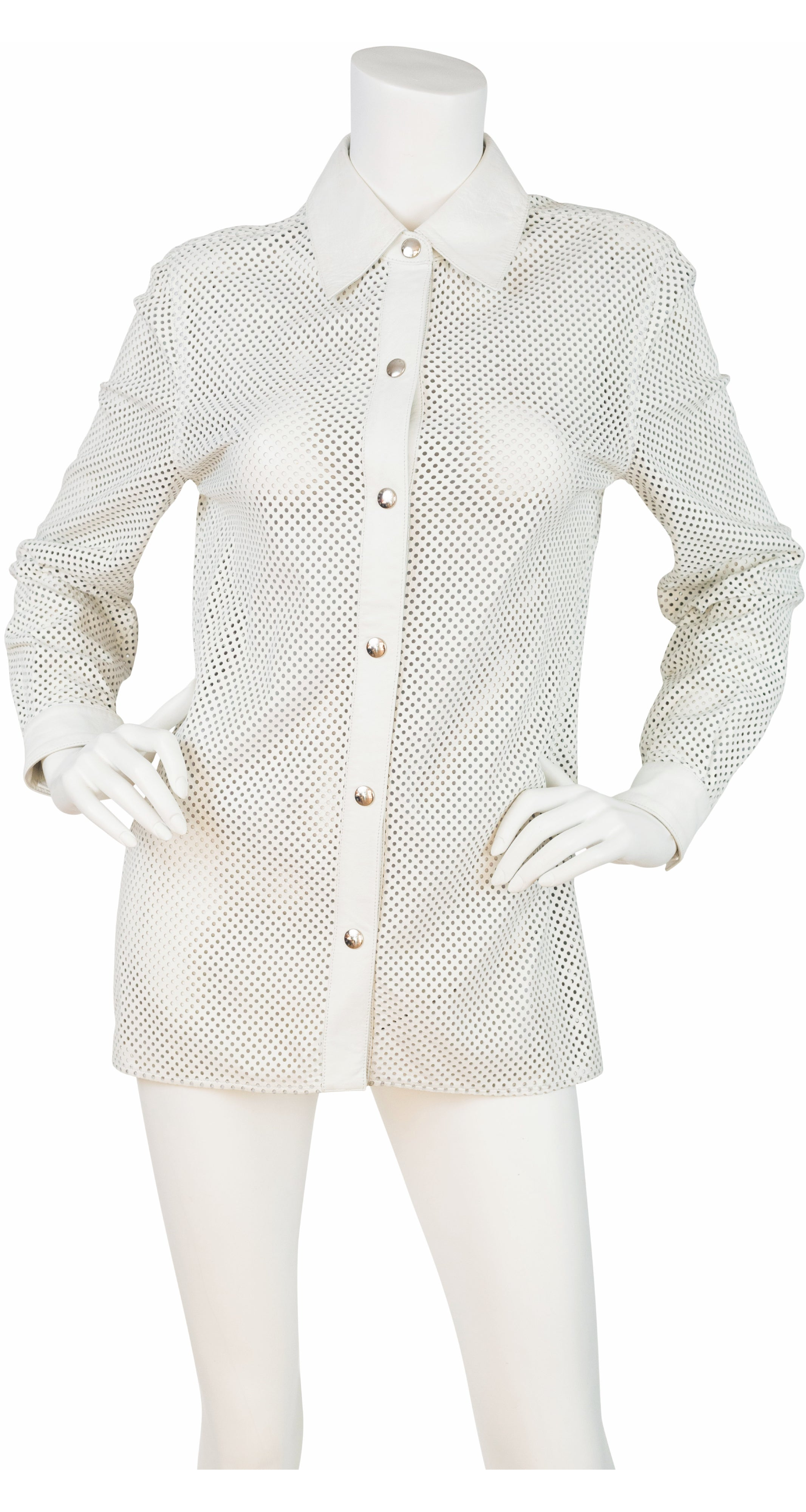 2000 S/S Runway White Perforated Leather Collared Snap Blouse