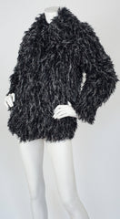 1970s Glam Rock Black String & Silver Tinsel Jacket