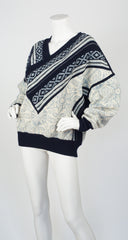1980s Nordic-Inspired Wool Pullover Sweater