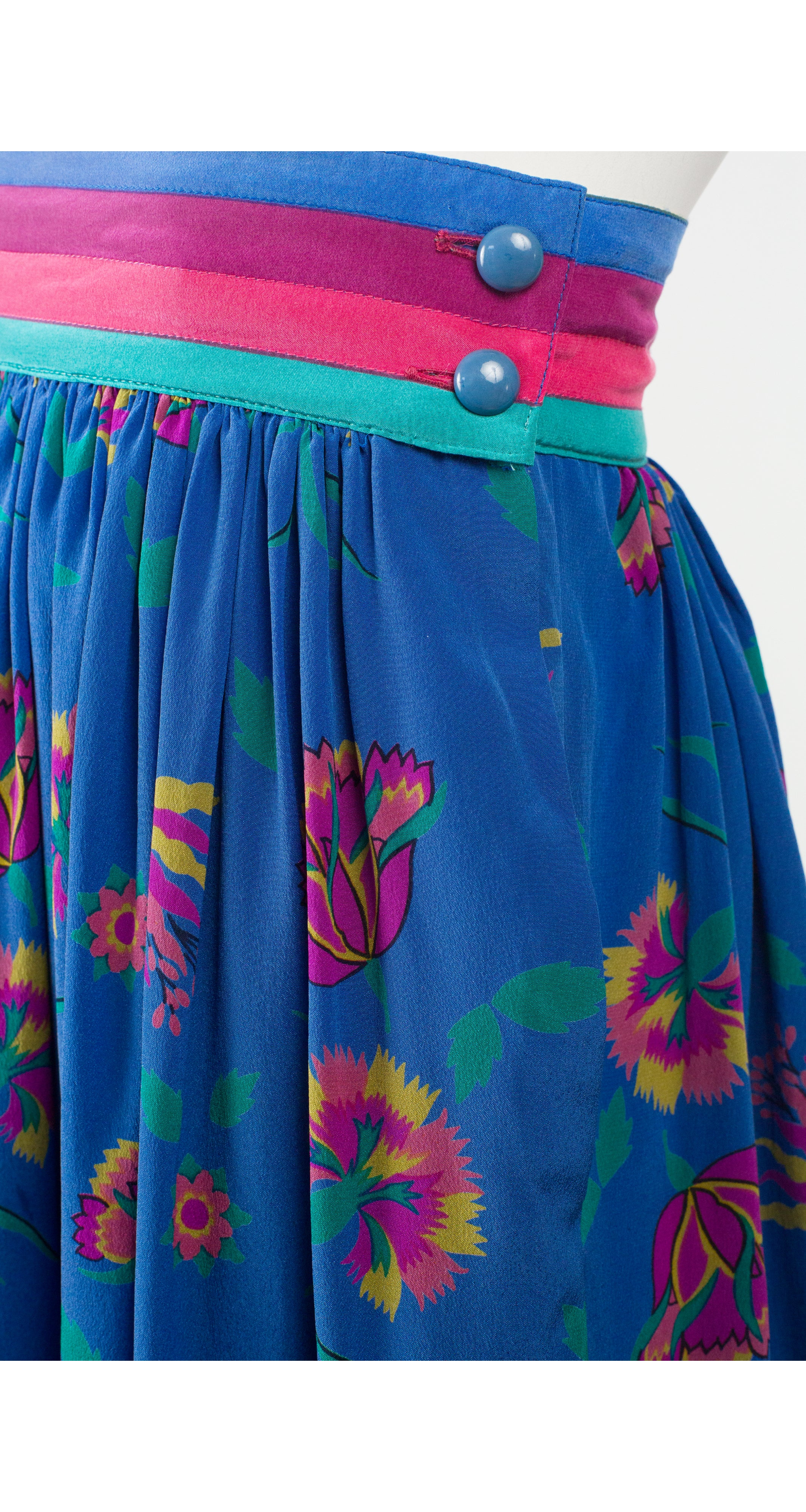 1980s Floral Blue Silk Pleated High-Waisted Skirt