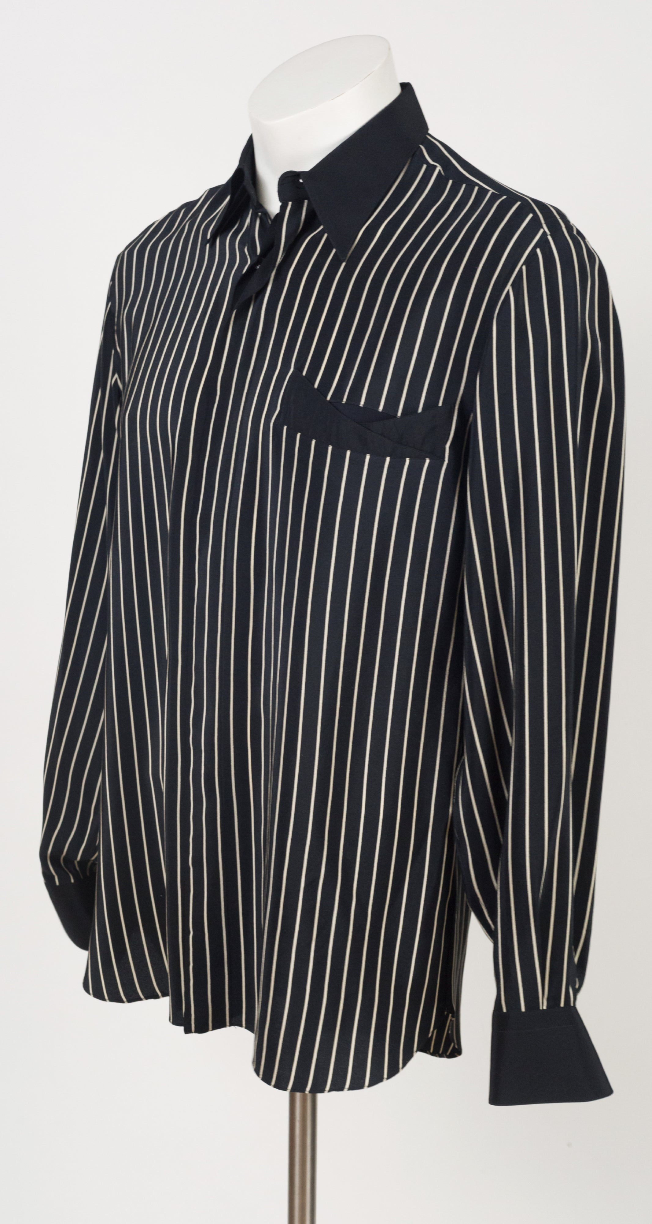 1980s Men's Black & Cream Striped Silk Collared Shirt