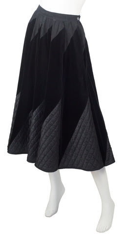 1970s Quilted Black Velvet Circle Skirt
