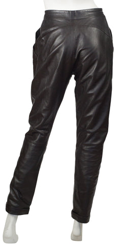 "1980s ""CD"" Logo Snap Dark Brown Leather Pants"