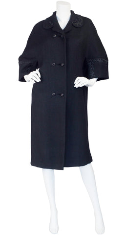 1950s Satin Trim Black Wool Coat