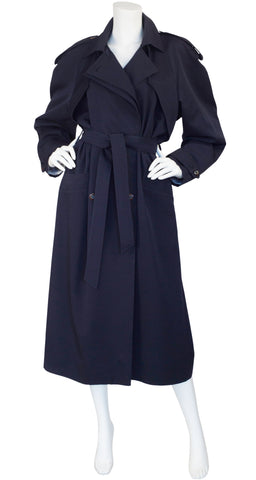 1980s Navy Blue Wool Double-Breasted Trench Coat
