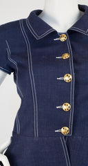 1990s Monogram Button Navy Linen Peplum Skirt Suit