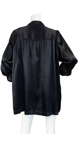 1930s Embroidered Black Satin Rayon Bed Jacket