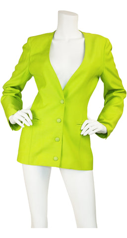 1980s Lime Green Wool Fitted Blazer Jacket