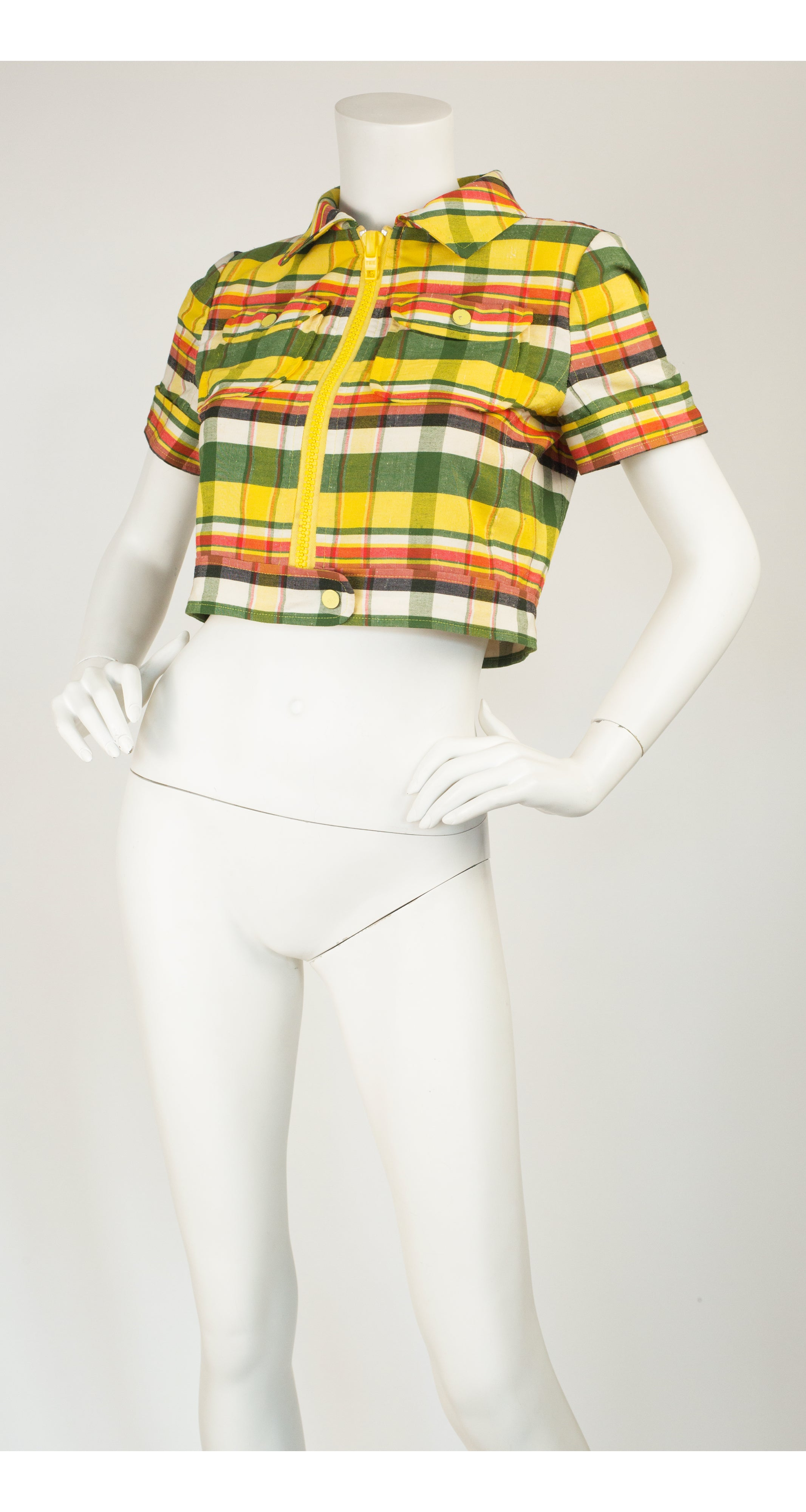 1970s Hyberbole Numbered Plaid Cropped Jacket
