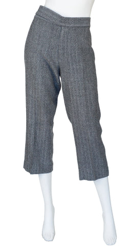 2000s Herringbone Wool Cropped Straight-Leg Trousers
