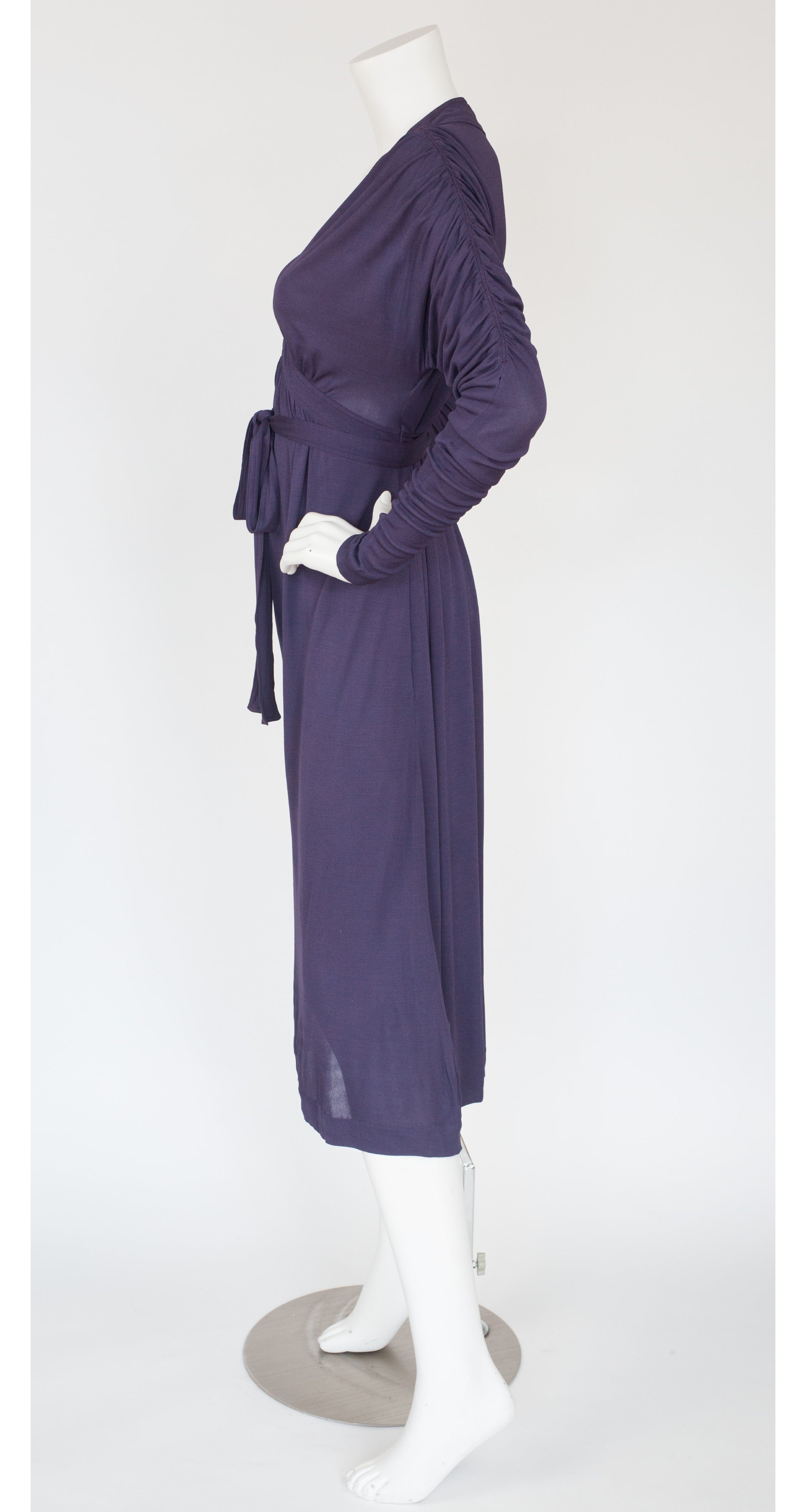 1970s Purple Rayon Jersey Ruched Sleeve Dress