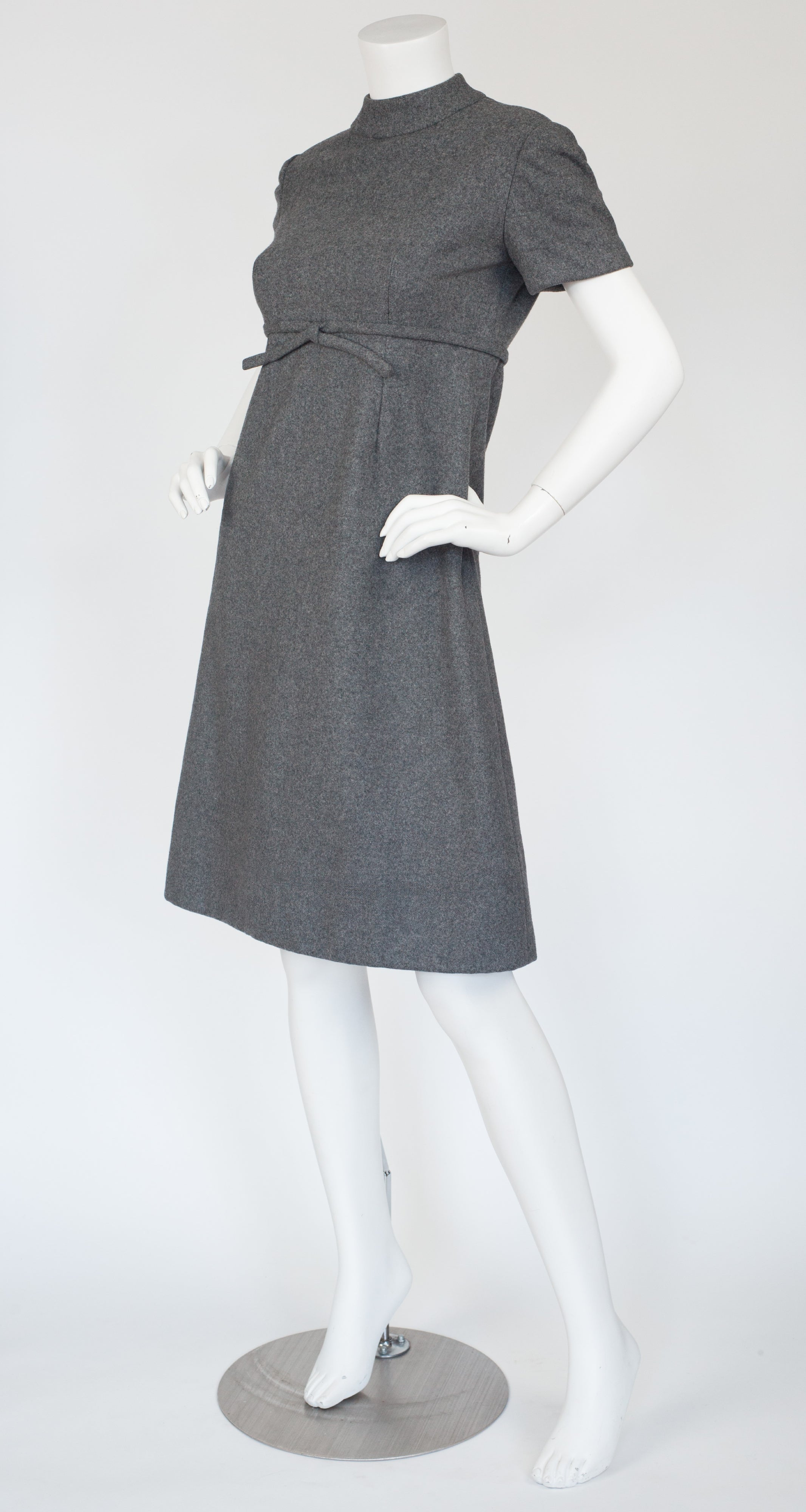 1960s Mod Gray Wool A-Line Dress